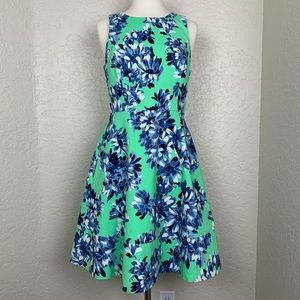 J. Crew Green Floral A-Line Dress Size 4
